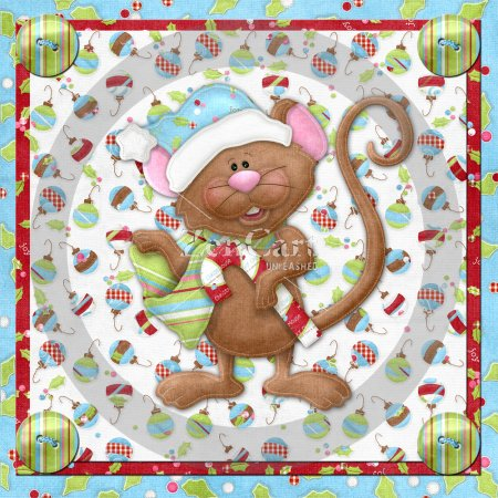 Chrismas Mouse Glass Block