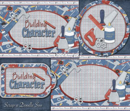 Building Character Blue Plaid Paint Can Label Set
