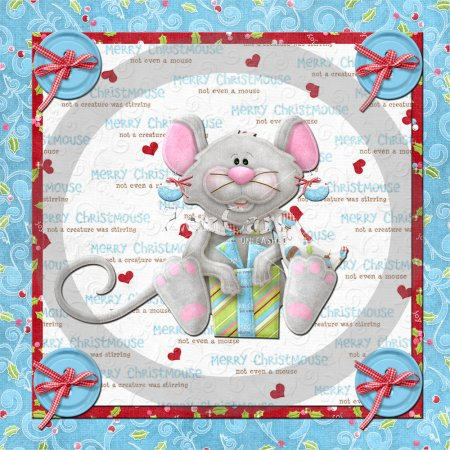 Christmas Mouse Glass Block 2