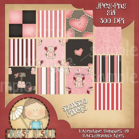 Valentine Bunnies Background Tiles