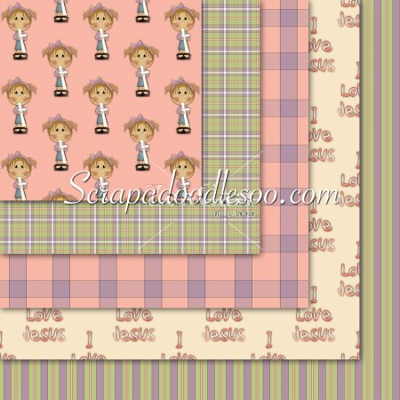 Girls Crosses -Pink/Purple/ Green/Cream/White 12x12 Backgrounds